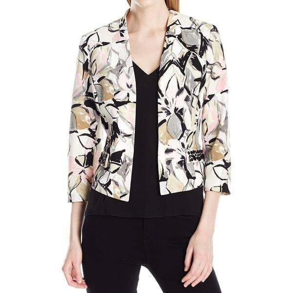 774ec1e00af73 Shop Kasper Pink White Womens Size 4 Floral-Print Open-Front Jacket ...