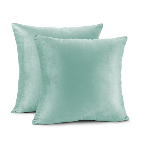Porch & Den Cosner Solid Color Microfiber Velvet Throw Pillow Cover - Set of 2
