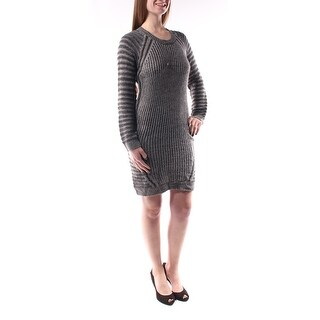 Womens Gray Long Sleeve Midi Shift Dress Size: M