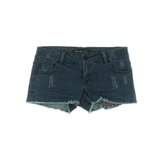 Celebrity Pink Womens Juniors Denim Shorts Sunday Fun Day Dark Wash Distressed