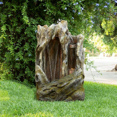 """Alpine Corporation 62"""" Tall Outdoor Tree Trunk Water Fountain with LED Lights"""
