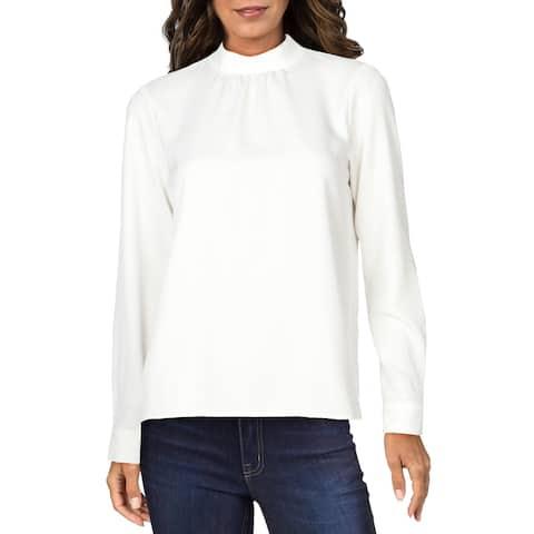 Calvin Klein Womens Petites Top Mock Neck Pullover - Cream