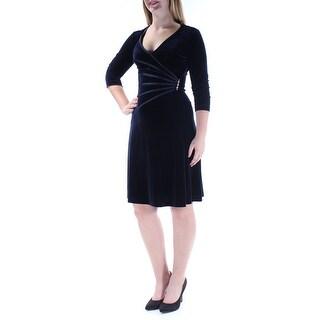 CONNECTED $79 Womens New 1248 Navy Velvet 3/4 Sleeve Dress 8 Petites B+B