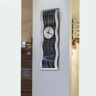 "Statements2000 Metal Wall Clock Art Modern Abstract Black Silver Decor by Jon Allen - Black Willow Clock - 32"" x 10"""