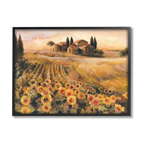 Stupell Industries Italian Villa Autumn Sunflower Field Yellow Green Framed Wall Art