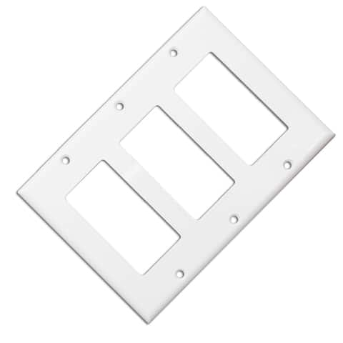 Offex Wall Plate, White, Blank Decora, Triple Gang