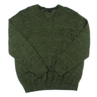 Nautica Mens V-Neck Sweater Snow Cotton Marled