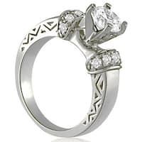 1.25 cttw. 14K White Gold Antique Round Cut Diamond Engagement Ring