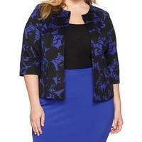 Kasper Women's Plus Two-Tone Open Floral Jacket