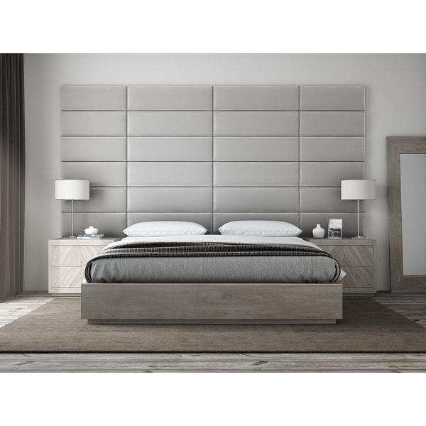 "VANT Upholstered Headboards - Accent Wall Panels - Packs Of 4 - PLUSH VELVET Platinum Gray - 39"" Wide x 11.5"" Height"