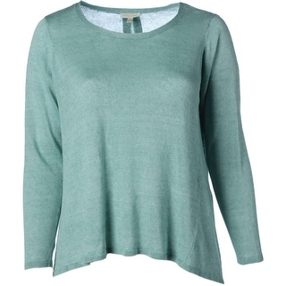 Eileen Fisher Womens Plus Linen Boatneck Pullover Sweater