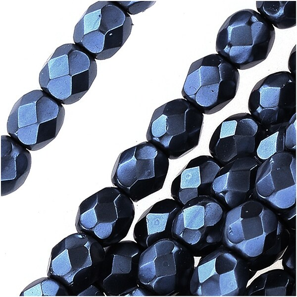 Czech Fire Polished Glass Beads 4mm Round Full Pearlized Coat - Navy Blue (50)