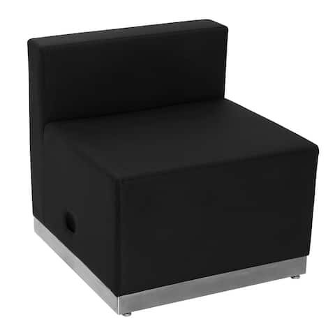 """LeatherSoft Chair w/Brushed Stainless Steel Base - Reception Furniture - 25.5""""W x 25.25""""D x 27""""H"""