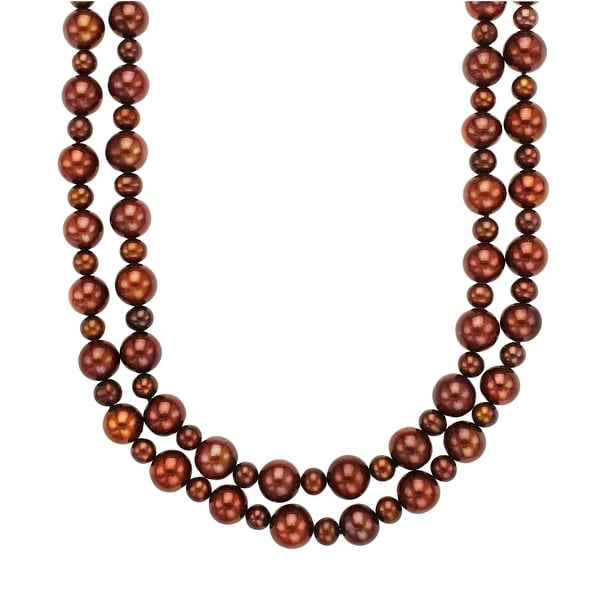 38-Inch 9.5-12 mm Brown Freshwater Pearl Necklace with Sterling Silver Clasp
