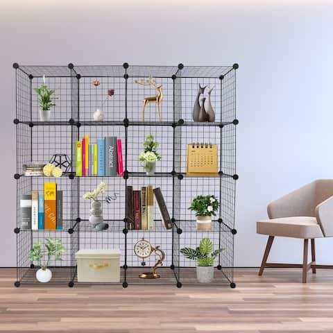 16/20-Cube Wire Grid Storage Shelves Multifunction Closet Organizer Bookcase
