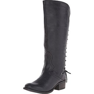 Madden Girl Womens Derail Faux Leather Engineer Mid-Calf Boots