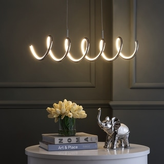 """Link to Ali 31"""" Dimmable Integrated LED Metal Pendant, Chrome by JONATHAN  Y Similar Items in Pendant Lights"""