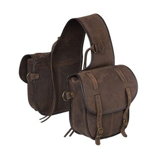 Tough-1 Western Saddle Bag 2 Pockets Saddle Strings Brown