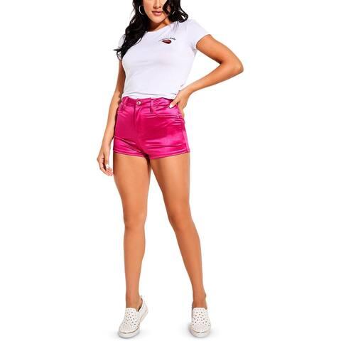 Guess Womens Jamaica Shorts Metallic High-Waist