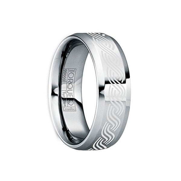 NERVA White Celtic Polished Tungsten Ring with Beveled Edges by Crown Ring - 6mm
