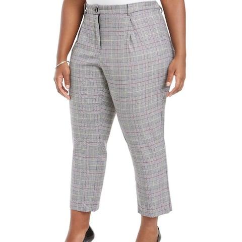 Vince Camuto Women's Dress Pants Gray Size 20W Plus Plaid Stretch