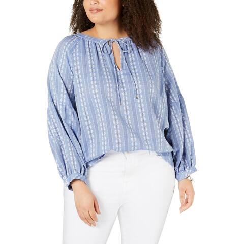 Tommy Hilfiger Womens Pullover Top Cotton Split Neck - Blue/White - 1X