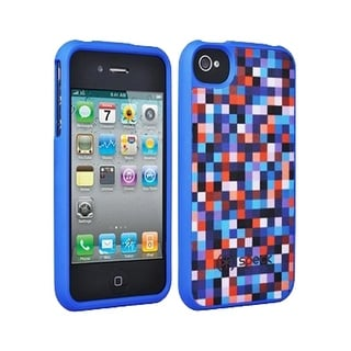 Speck Fitted Hard Case with Fabric for Apple iPhone 4 / 4S (Pixel Party Blue/Red