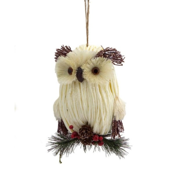 """8"""" Enchanted Forest Cream Woven Owl Christmas Ornament with Eyebrows Down"""