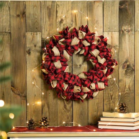 """Glitzhome 19""""D Red Plaid Christmas Wreath"""