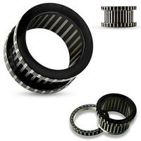 Striped Black IP over 316L Surgical Steel Flesh Screw Fit Tunnel (Sold Ind.)