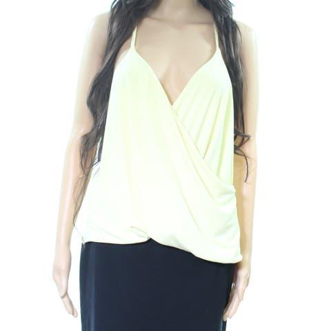 Free Press Yellow Surplice Women's Size Large L Faux-Wrap Top Blouse