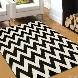 "AllStar Rugs Coal Woven Hand Carved Chevron Geometric Area Rug (7' 9"" x 10' 5"")"