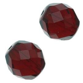 Czech Fire Polished Glass Beads 12mm Round Garnet (10)