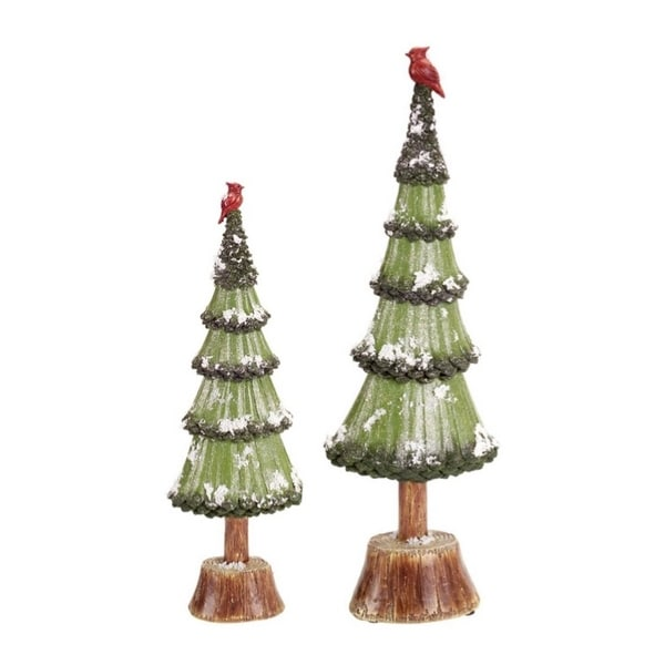 """Set of 2 Snowy Glittered Christmas Trees with Cardinals Table Top Decorations 20.5"""""""