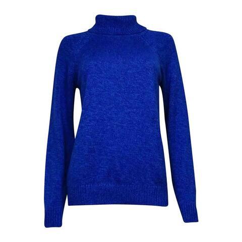 Karen Scott Women's Ribbed Turtleneck Marled Sweater