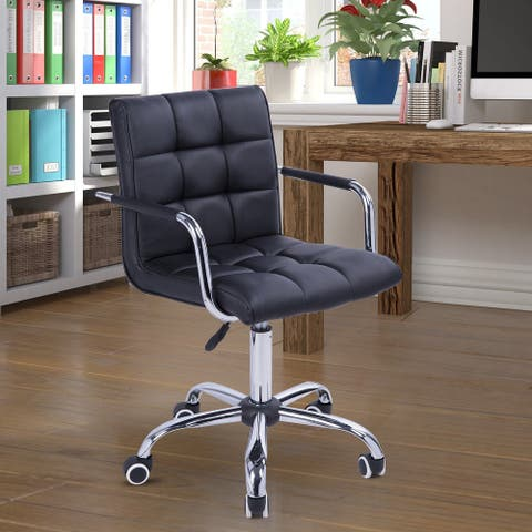 HOMCOM Modern Computer Desk Office Chair with Upholstered PU Leather, Adjustable Heights, Swivel 360 Wheels, Black