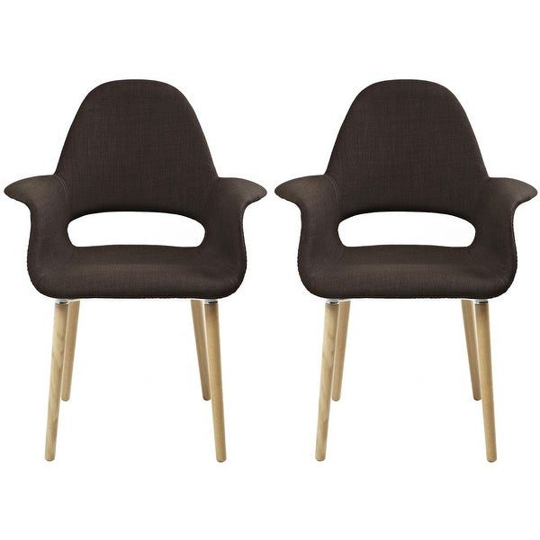 2xhome - Set of 2, Brown Modern Organic Chairs With Arm Armchairs Solid Wood Natural Legs Dining Chairs Living Room Restaurant