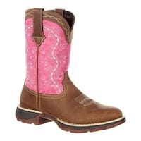"Durango Boot Women's DRD0175 Lady Rebel 10"" Western Boot Brown/Pink Full Grain Leather"