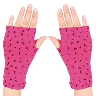 Women Moon Star Print Short Fingerless Gloves Wrist Warmer Mitts Fuchsia Pair