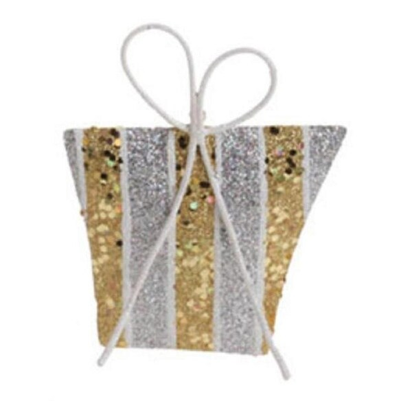 """5"""" Christmas Whimsy Gold & Silver Glitter Striped Gift Christmas Tree Ornament"""