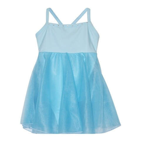 Girls Blue Rhinestone Trim Empire Waist Style Dancewear Dress