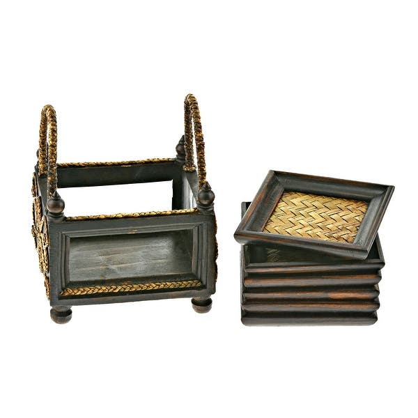 Handmade Stylish Hand Carved Square Rain Tree Wood And Rattan 6 Piece Coaster Set Thailand Brown Overstock 31925587
