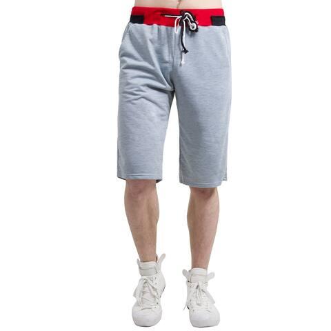 Men Color Block Drawstring Elastic Waistband Boardshorts Shorts