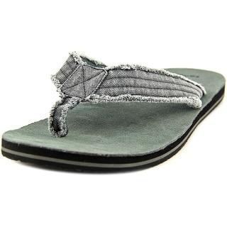 Sanuk Fraid Not Men Open Toe Canvas Gray Thong Sandal