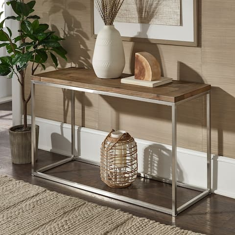 Keenan Stainless Steel Rectangular Sofa Table by iNSPIRE Q Modern - Sofa Table