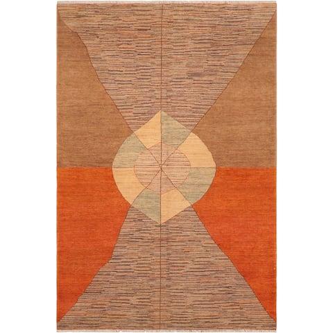 """Modern Gabbeh Ling Orange Brown Wool Rug - 6'2 x 9'3 - 6'2"""" x 9'3"""""""