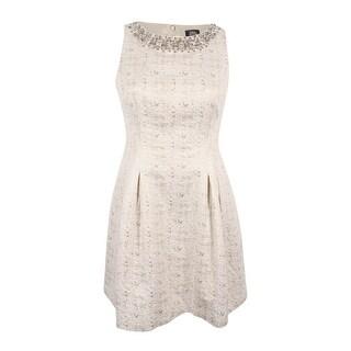 Vince Camuto Women's Jacquard Embellished Fit & Flare Dress - Ivory