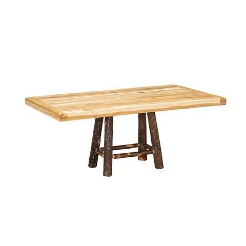 Hickory Log Settler's 4-Leg Pedestal Table