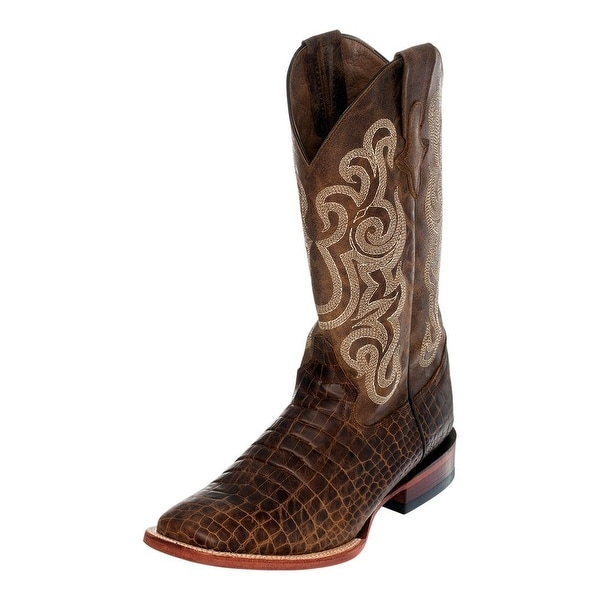 Ferrini Western Boots Mens Caiman Print Square Toe Brown
