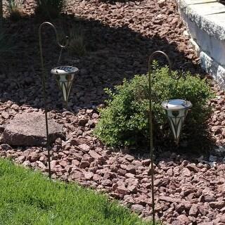 Sunnydaze Decorative Cone Hanging Solar Light and Shepherd Hook - Set of 2